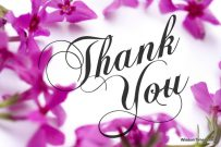 Thank You card with pink phlox background and elegant script text.